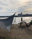 1 Schaduwdoek driehoek met bevestiging/touw