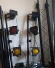Discolampen set (2x lampenbar op statief, rookmachine, stroboscoop, statische discolamp)