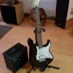 Elektrische gitaar met versterker