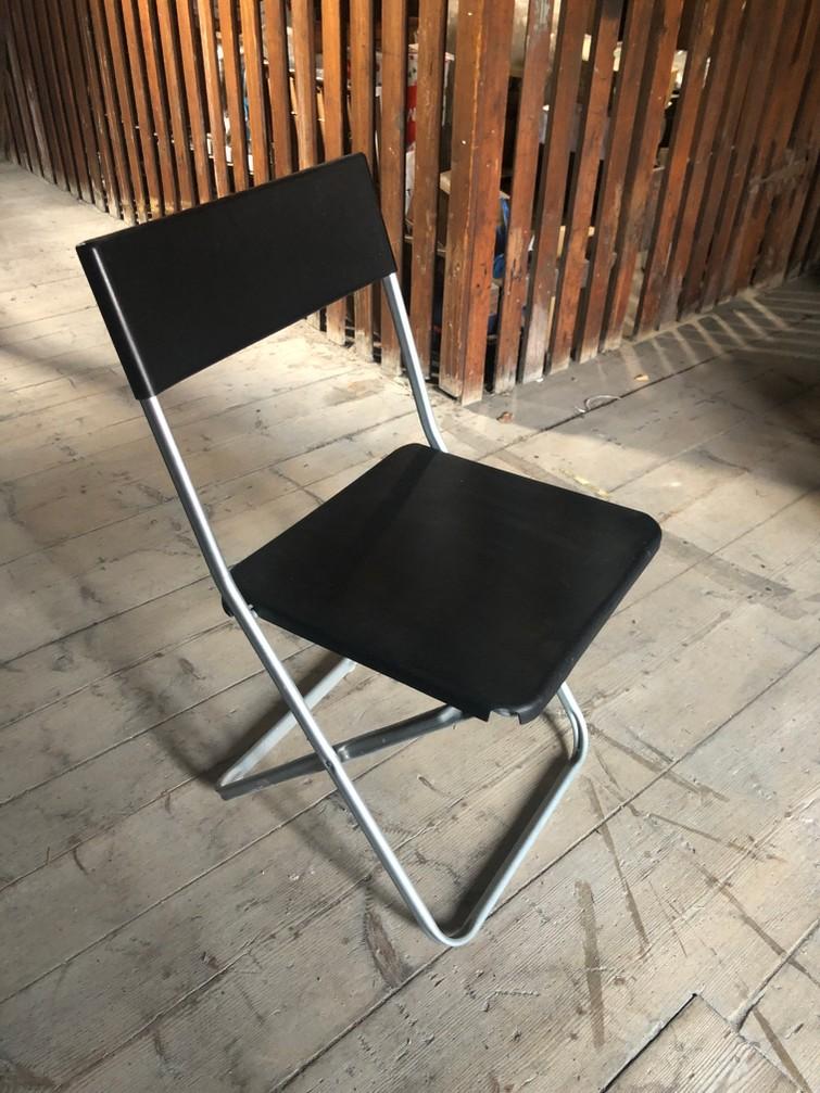 Klapstoel zwart/chroom