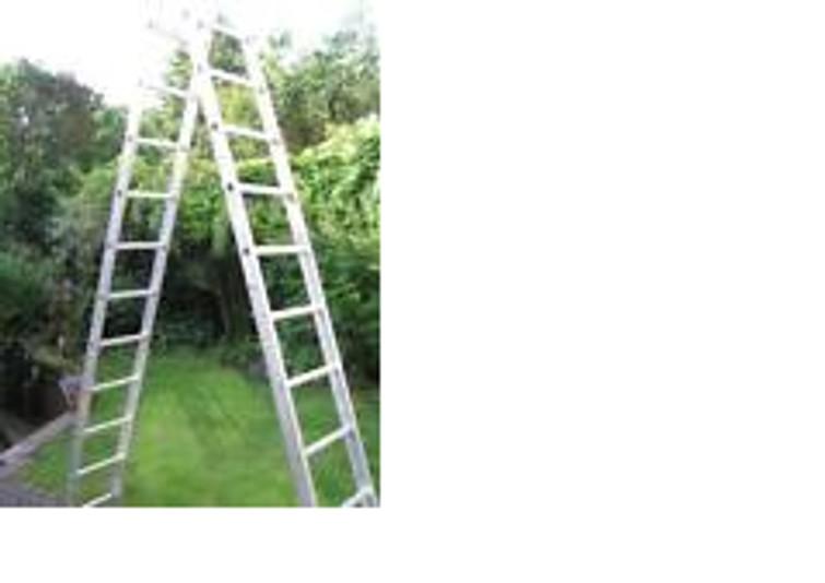 Tweedelige aluminium ladder 2 x 12 sporten