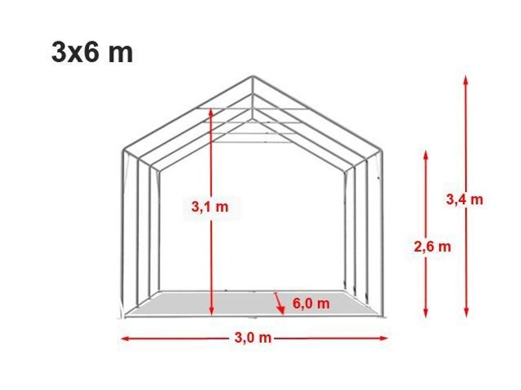 Professionele Partytent (6x3, doorloophoogte 2m60, totale hoogte 3m40.)