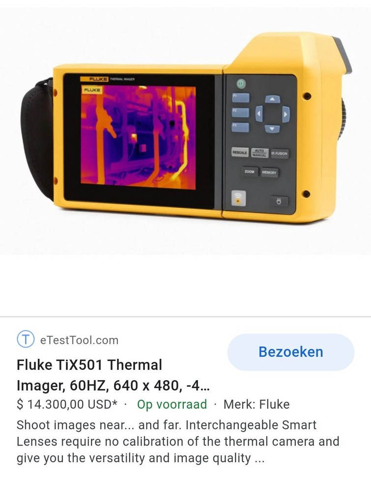 Warmtebeeld camera, merk Fluke