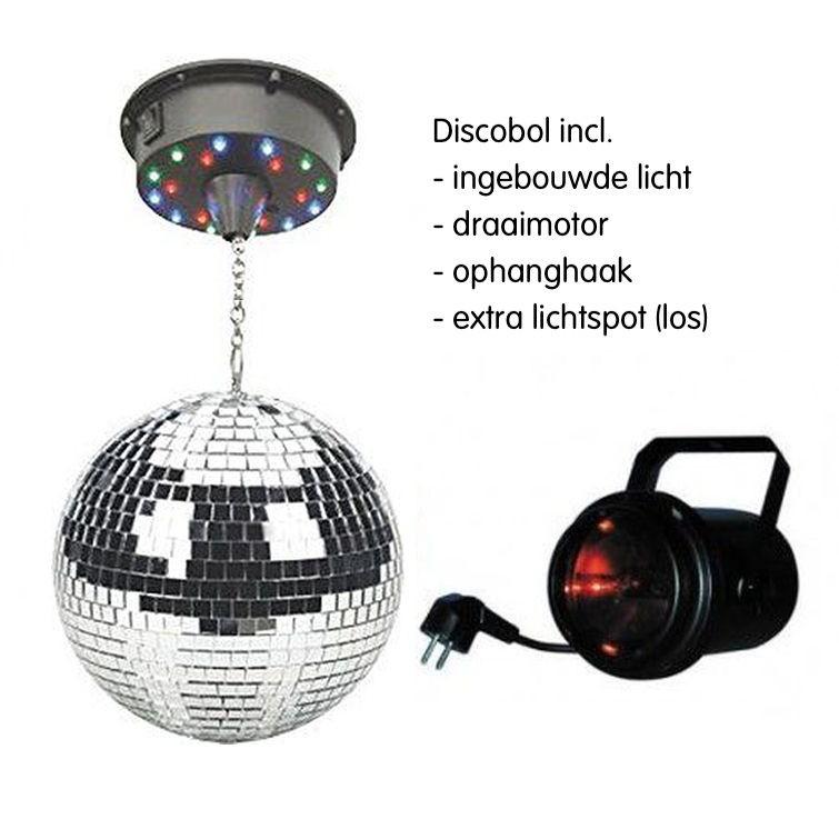 Discobol met ingebouwd licht en motor + extra rood spotlight