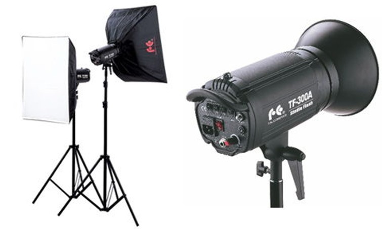 Falcon Eyes TE-300 studio flitsers met softboxen