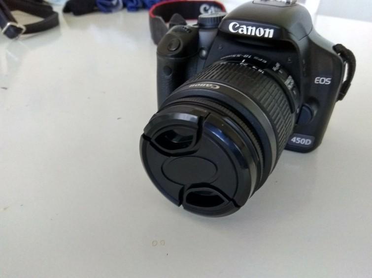 spiegelreflex camera canon 450D met lens 18-55 mm en 55-250mm