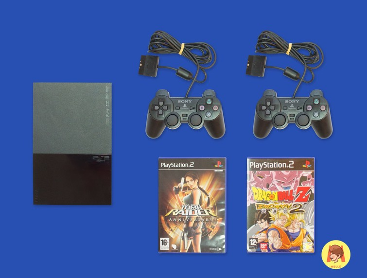Playstation 2 (PS2)  + 2 Controllers + 2 Games naar keuze