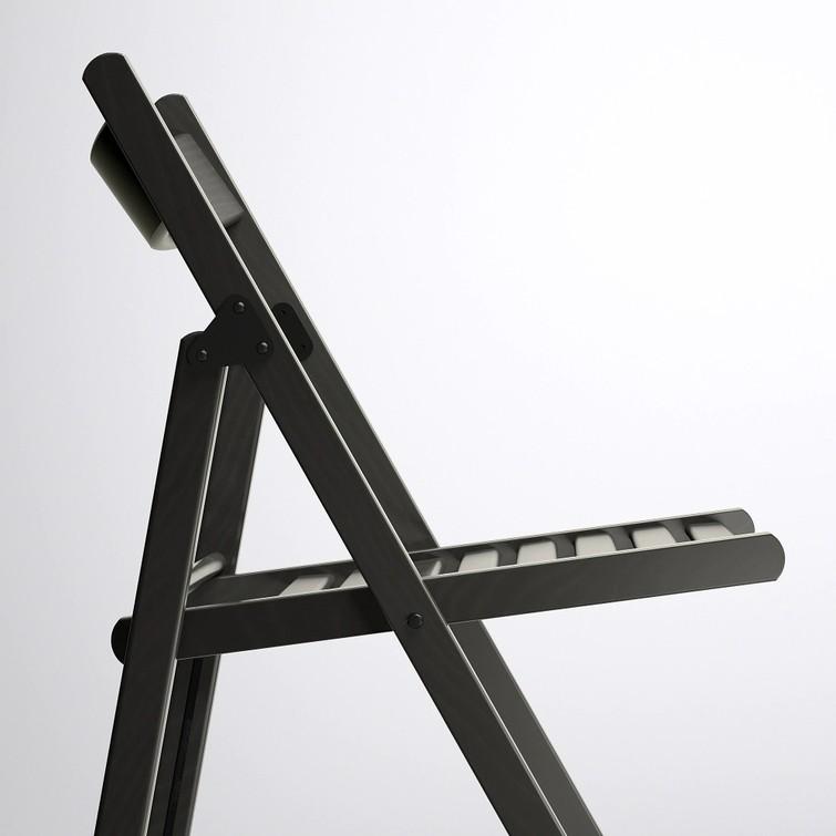 Klapstoel zwart 4x (massief beuken hout)