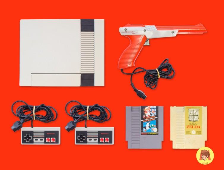 Nintendo (NES) + 2 Controllers + 2 Games naar keuze
