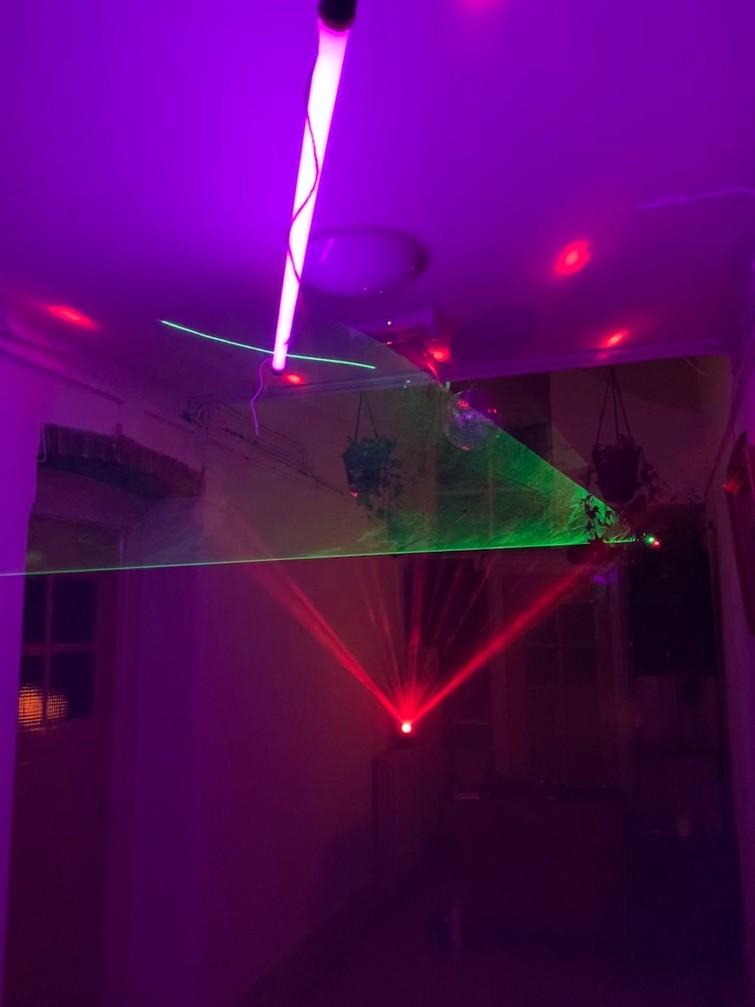Laser (groen) met rookmachine