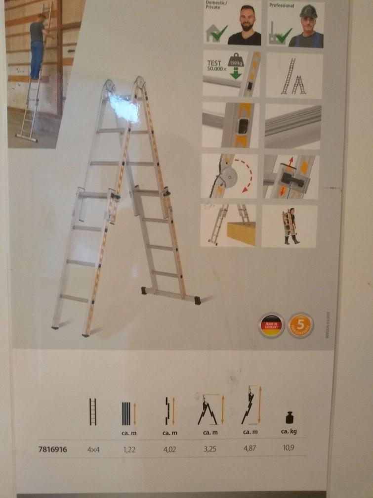 4m opvouwbare Ladder/trap, aluminium
