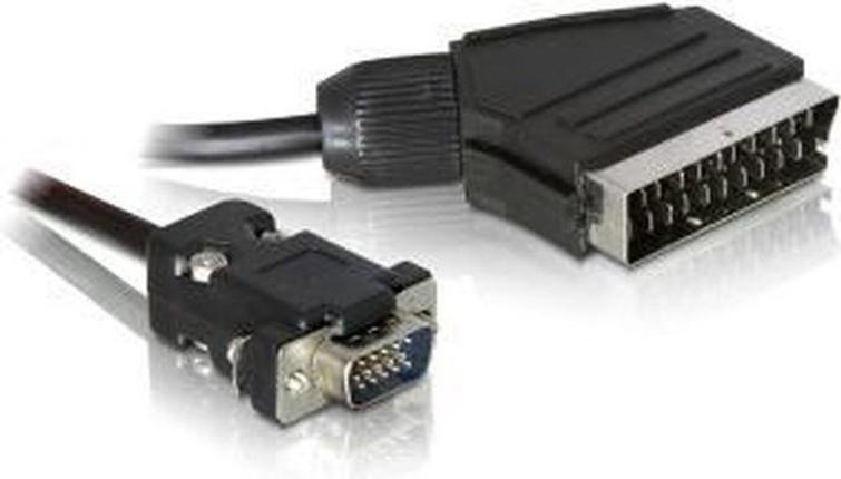 De LOCK 65028 video kabel adapter 2 m SCART (21-pin) VGA (D-Sub) Zwart Met Locks. - Computer Onderdelen En Accessoires