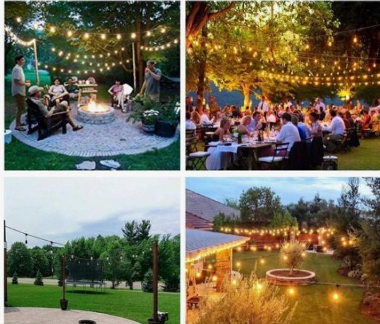 Prikkabel verlichting 30 meter met 40 fittingen wit of gekleurde lampen.  - feest bruiloft