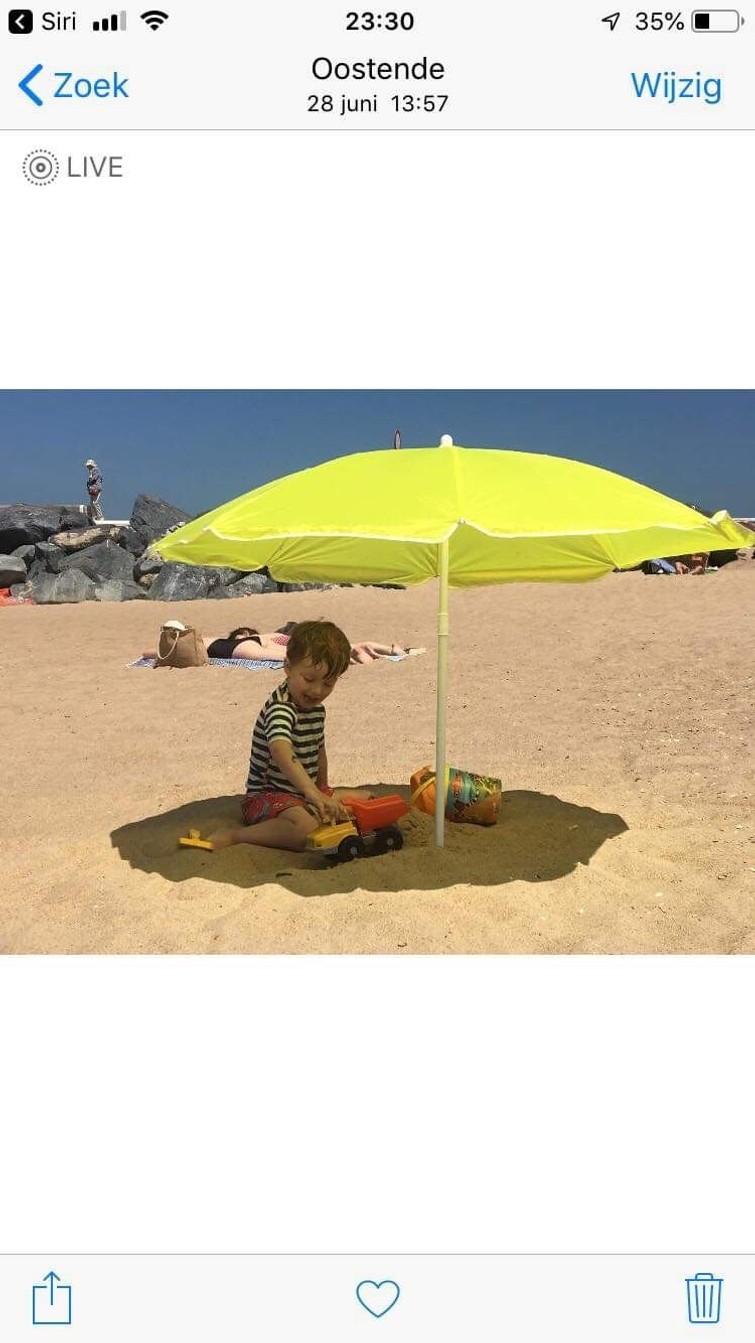 grote (golf)paraplu wit/geel