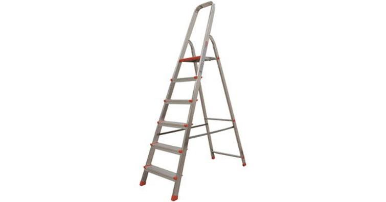 Simpele, degelijke ladder met 6 treden