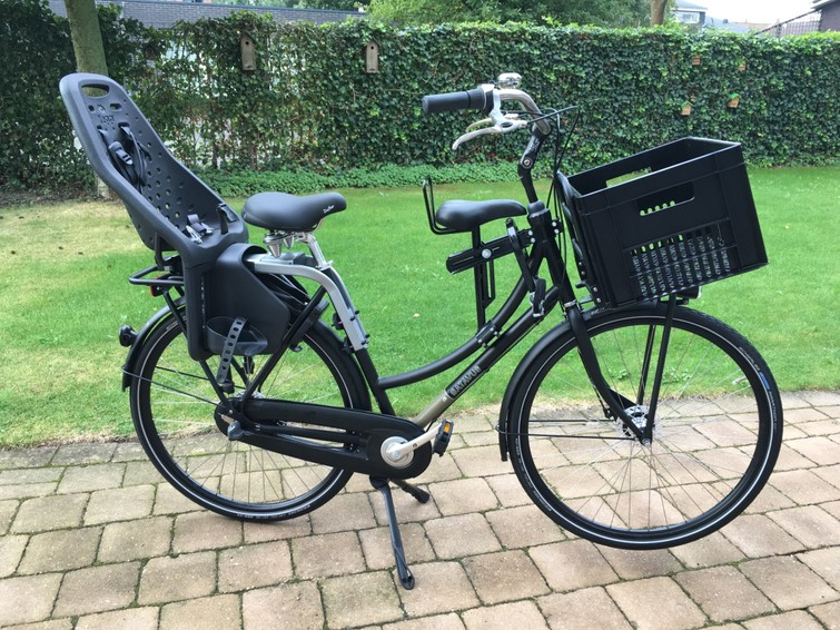 Batavus dames fiets met 2 zitjes en krat
