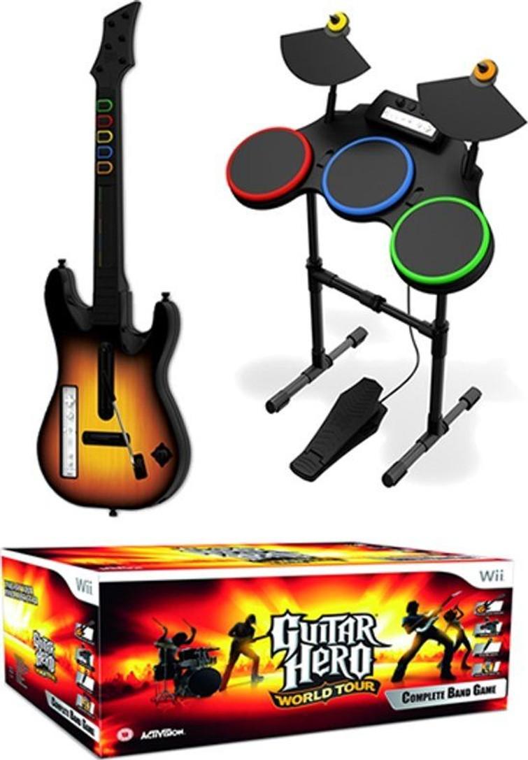 Nintendo Wii met Guitar Hero gitaar en drum