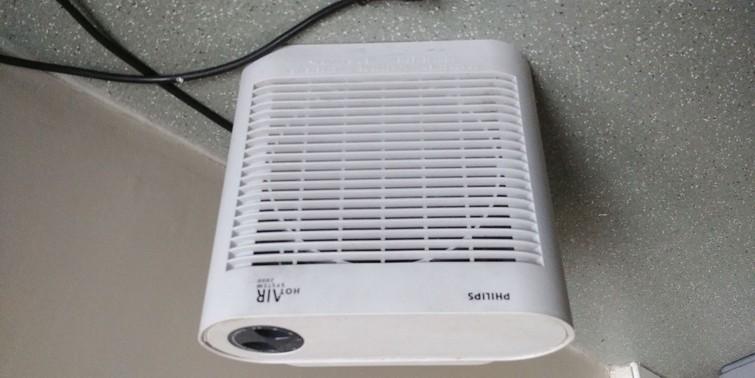 ventilator met kachel; 3 standen: koud, 1000 watt, 2000 watt