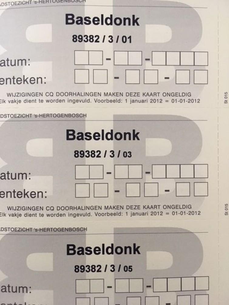 Gele bezoekerskaartjes Baseldonk