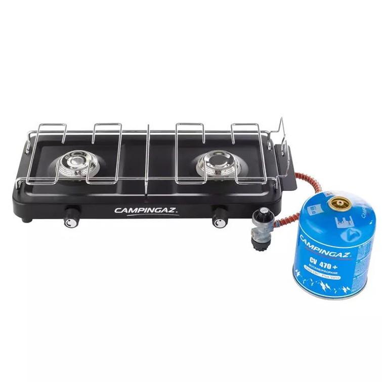 2 pits kampeer gasbrander / kooktoestel met drukregelaar