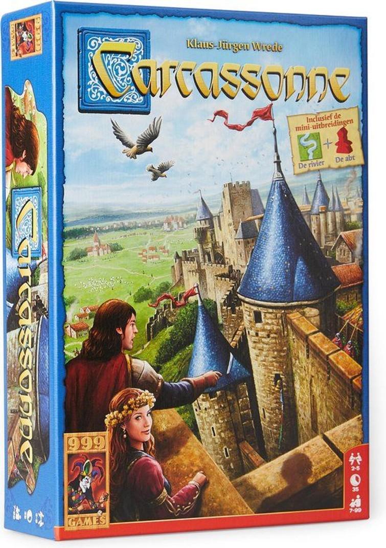 Carcassonne met uitbreiding de abt en de rivier