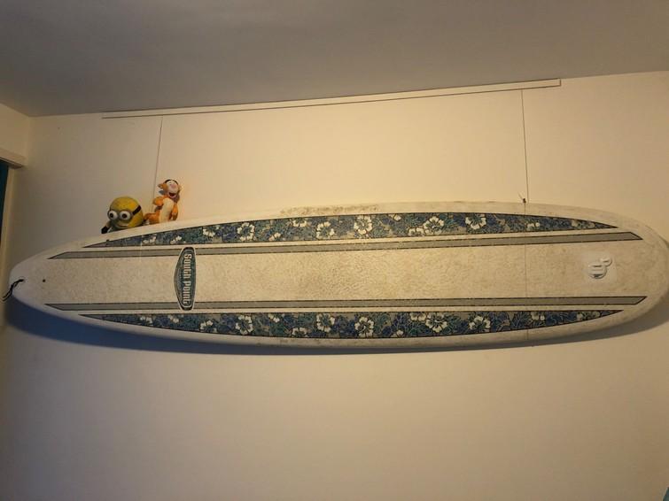 Surfboard 8'6 (Longboard) met GoPro mount/houder