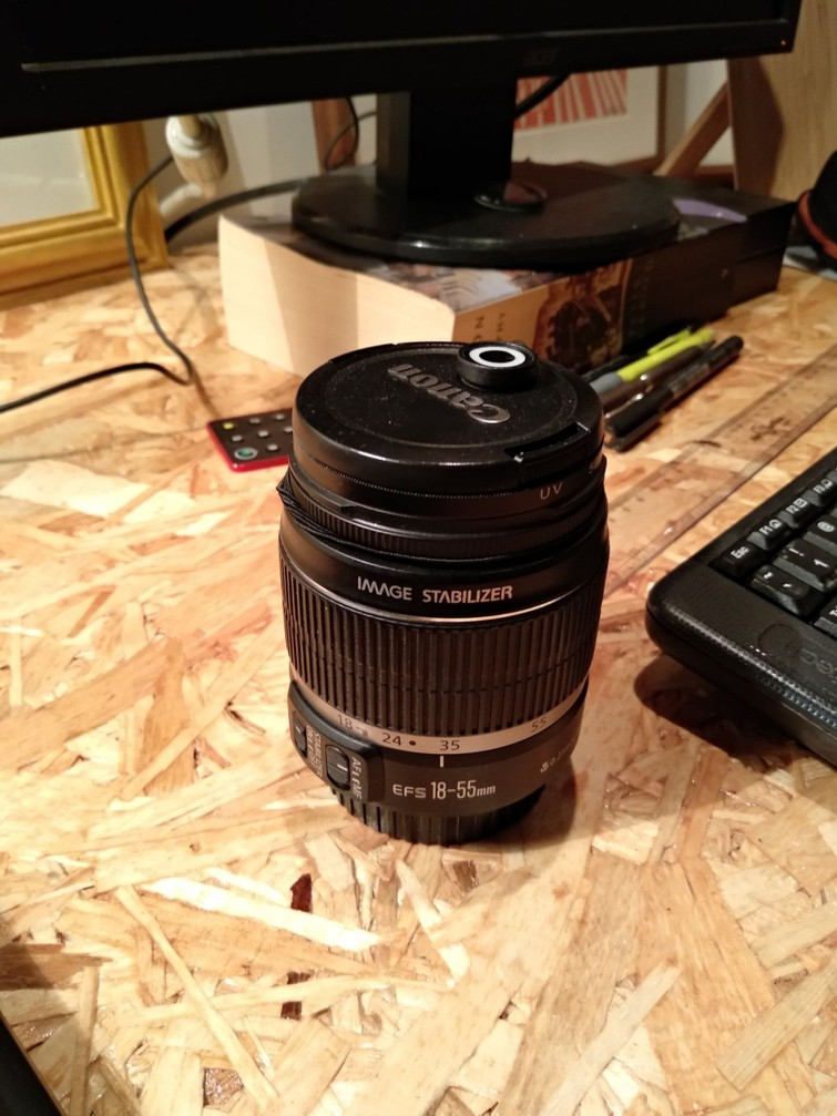 Canon EF-S 18-55 (of andere EF-S lens)