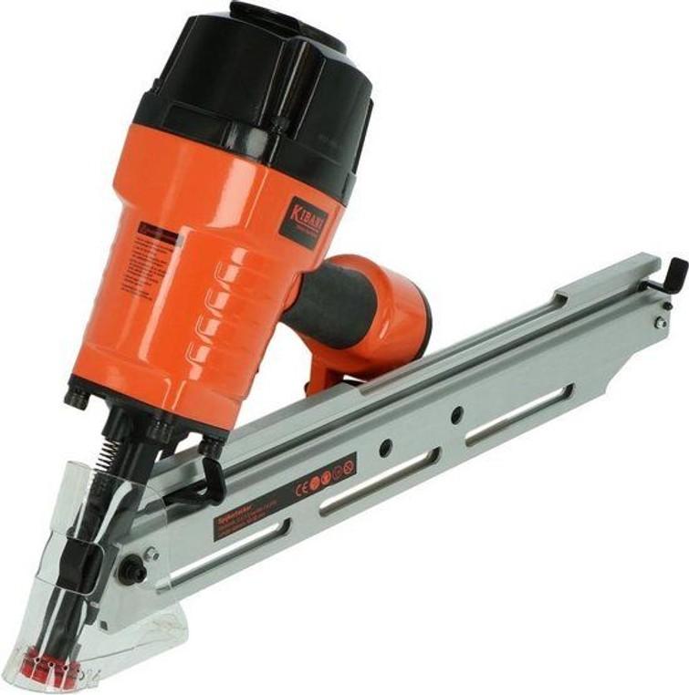 Spijkertacker, (spijkerpistool) Kibani SN9034. Op perslucht, geschikt voor spijkers en nietjes t/m 90mm.